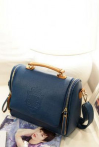 Vintage Crested Royal Blue Handbag