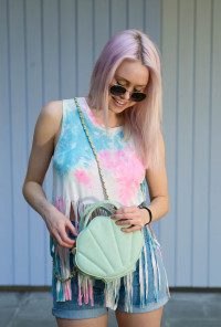 mint mermaid seashell purse