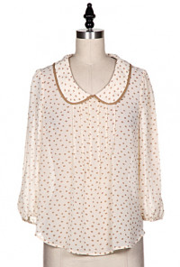 Amiable Modesty Peter Pan Collar Pintuck Blouse