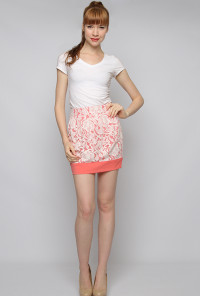 Coral Contrast Lace Mini Skirt