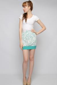 Jade Contrast Lace Mini Skirt