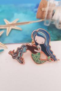 Zodiac Mermaid Enamel Pin - Aquarius