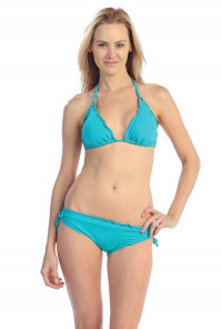 Aquarius Allure Ruffled Edge Bikini Set in Turquoise