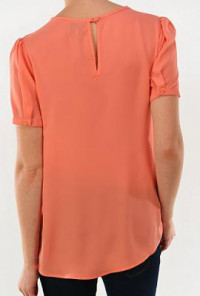 Coral  Vintage Lace and Pearl Collar Detailed Short Sleeve Top