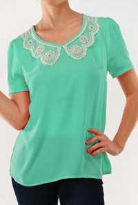 Mint  Vintage Lace and Pearl Collar Detailed Short Sleeve Top