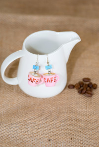 Earrings- Aroma Coma Coffee Mug Bow Earrings in Strawberry Pink