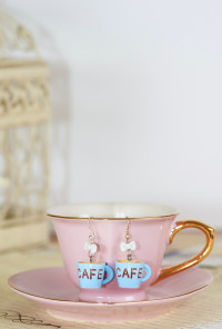 Earrings- Aroma Coma Coffee Mug Bow Earrings in Cafe Blue