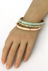 Bracelet - Attention Span Bangle Bracelet Set in Mint and Pink