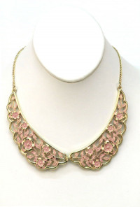 Necklace - Shabby Love Floral Filigree Vintage Collar Necklace in Pink