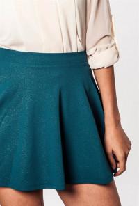 Shimmer Textured Skater Skirt in teal