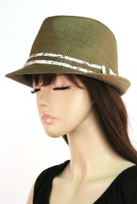 Hat - Wind Factor Floral Print Trim Straw Fedora Hat Brown