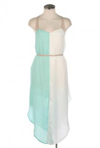 Strappy Vertical Color block Dress in Mint/White