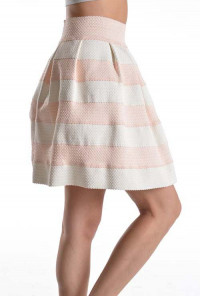pretty pink High Waist Striped Skater Skirt