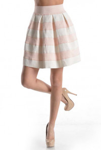 pink High Waist Striped Skater Skirt