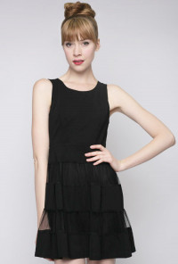 Contrast Mesh Sleeveless Skater Dress in Black
