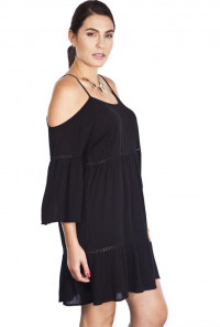 Black Boho Off-the-Shoulder Peasant Dress