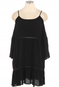 Black Boho Off-the-Shoulder Peasant Dress