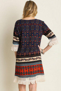 Boho Festival Fringe Tribal Print Dress