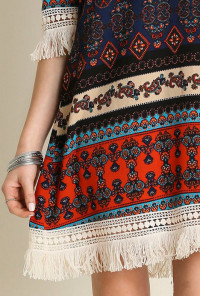 Fringe Tribal Print Dress