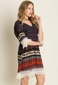 Sincerely Sweet Dress - Boho Fringe Tribal Print Dress