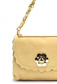 Purse - Flower Child Scallop Edge Crossbody Beige Purse