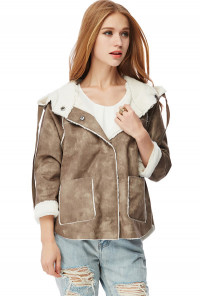 Brown Faux Suede Shearling Moto Jacket