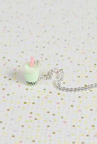 Necklace - Bubble Bubble Boba Tea Charm Necklace in Honeydew Milk Tea