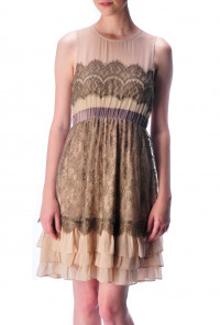 Lace Multi Color Tiered Dress in Brown