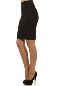 Black Bow Back High Waist Pencil Skirt