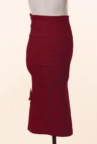Burgundy Bow Back High Waist Pencil Skirt