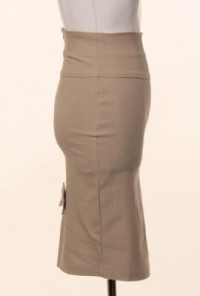 Brown Bow Back High Waist Pencil Skirt