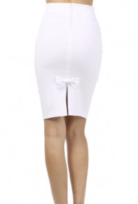 white Bow Back High Waist Pencil Skirt
