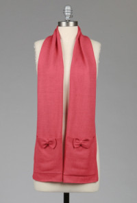 Scarf - Very Berry Wintry Pockets Bows Smile Scarf