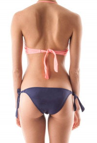 Candid Simplicity Front Hook Halter Bikini Set in Pink Navy