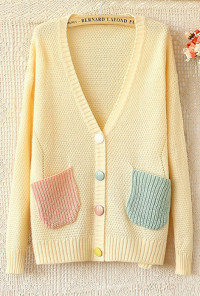 yellow V-Neck Pocketed Knit Cardigan