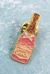 champagne bottle lapel pin
