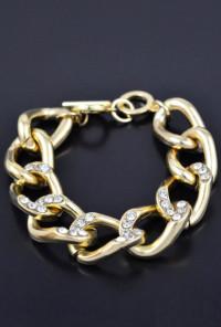 Bracelet - Chain Reaction Ribbon Chain Rhinestone Bracelet in Gold