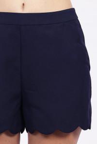 Navy Blue Scallop Hem High Waist Shorts