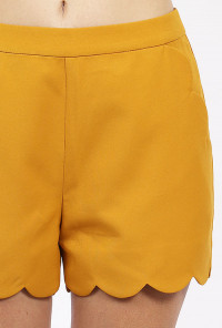 yellow high waist scallop shorts