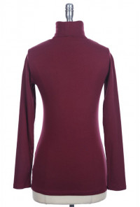 burgundy Long Sleeve Turtleneck Solid Top