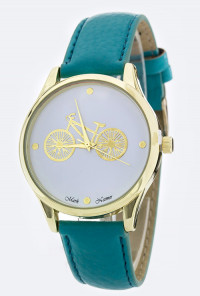 Classic Date Retro Bicycle Teal Watch
