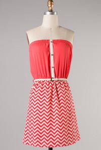 coral Strapless Chevron Dress