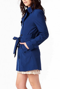 Double Breasted Belted Trench Tunic Coat
