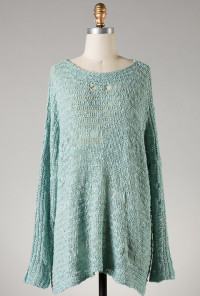 Distressed Mint Green Knit Sweater