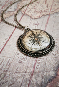 Glass Dome Compass Pendant Necklace