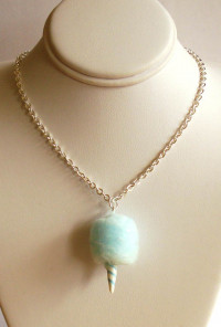Necklace - Concession Delight Cotton Candy Charm Necklace in Blue