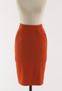 Pocketed High Waist Pencil Skirt in Rust