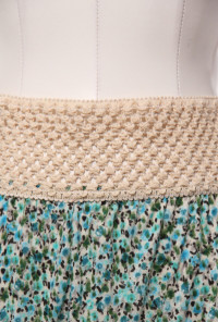 Countryside Picnic Ditsy Floral Skirt with Crochet Waistband in Turquoise
