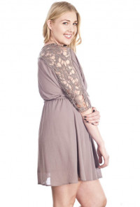 Crochet Sleeve Blouson Dress in Mocha