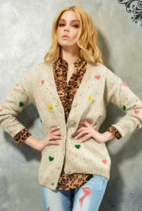 Knit Cardigan with Multicolor Raised Stitch Hearts